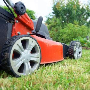 détail photo d'une tondeuse à gazon rouge dans un jardin, travaux de jardinage, Bel'Age Services de Proximité, livraison de repas à domicile, serves à domicile, Grenoble