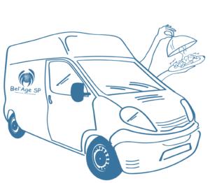 dessin d'un camion de livraison avec deux mains qui ouvrent une cloche de service dévoilant un repas chaud, livraison de repas à domicile, Bel'Age Services de Proximité, services à domicile, Grenoble