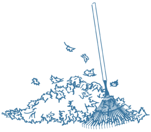 tas de feuilles et râteau, icône illustrant le service de travaux de jardinage et petit bricolage, Bel'Age Services de Proximité, services à domicile, Grenoble