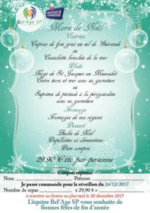 flyer de commande du repas de Noël 2017, Bel'Age Services de Proximité, services à domicile, Grenoble