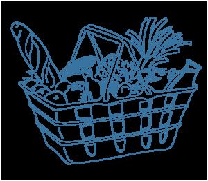 dessin d'un panier de courses garni, service de livraison de courses à domicile, Bel'Age Services de Proximité, Grenoble, services à domiciles