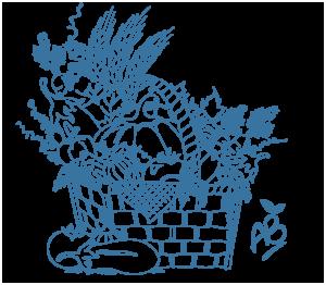 dessin d'un panier garni de légumes illustrant le service de livraison de panier bio à domicile ou sur le lieu de travail, Bel'Age Services de Proximité, Grenoble, services à domicile