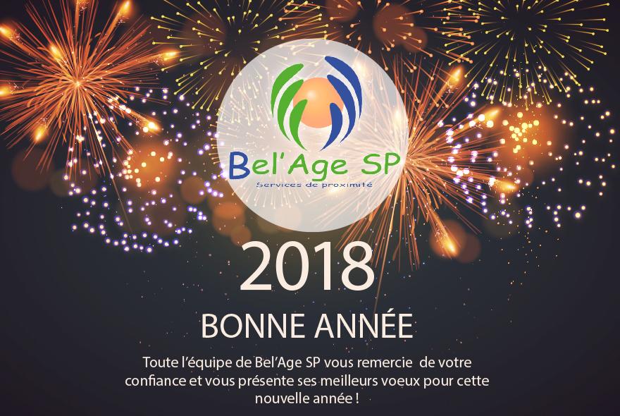 photo mise en scène du logo de Bel'Age Services de Proximité sur fond de feux d'artifice, merci de votre confiance et meilleurs voeux pour cette nouvelle année, Grenoble, services à domicile