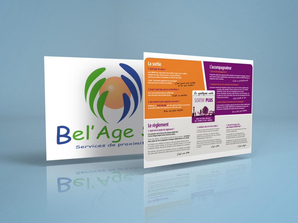 présentation du logo Bel'Age Services de Proximité et plaquette SORTIR PLUS sur la sortie accompagnée, le fonctionnement, services à domicile, Grenoble